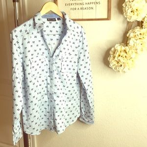 New York and Company ribbon print button up Sz XL